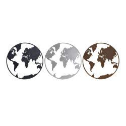 DP-170092 - Dekoráció falra fém 60x1x60 világtérkép 3 féle