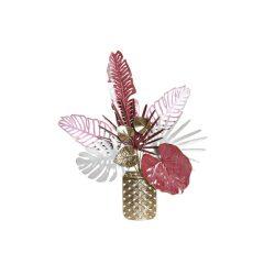 DP-181037 - Dekoráció falra fém 63x9x74 váza virágok