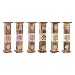 IN-132062 - füstölő tartó doboz, 10db füstölővel, fa,  30X8X8 , 6féle