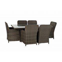 MB-166668 - Asztal, ebédlő, szett, 7db-os, rattan, szintetikus, 200x100x75, 5, mm