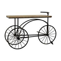 MB-173966 - Kávés asztalfém fenyő 128x40x82 bicikli fekete