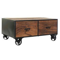 MB-180098 - Asztal kávé-s fa újrahasznosított fém 100x60x45 kerekes