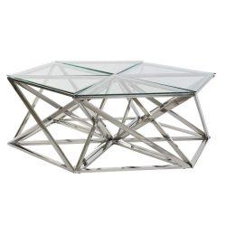 MB-182525 - Asztal kávé-s szett 6db-os acél üveg 137,5x120,5x45,4