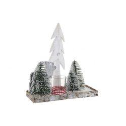 NV-174613 - Gyertyatartó fa üveg 30x12x32 karácsonyfa zöld