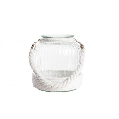 PV-121984 - gyertyatartó, üveg, fém, 18X21, kötéllel, fehér
