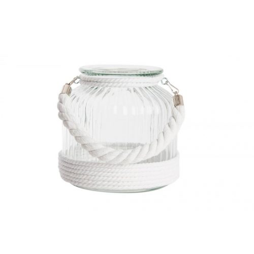 PV-121985 - gyertyatartó, üveg, fém,  18X18 , kötéllel, fehér