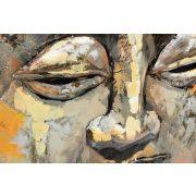 Kép, fa, fém, 80x80x5, buddha