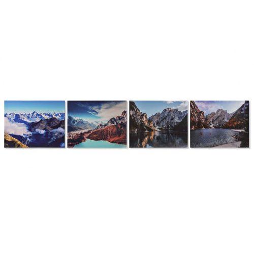 Kép, vászon, mdf, 50x1,8x40, hegyek, 4, féle