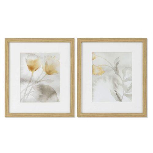 Kép, vászon, üveg, 33x5x38, leveles, 2, féle