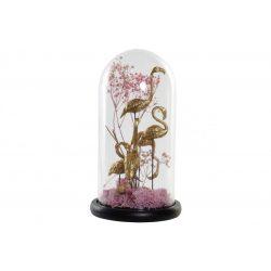 Dekoráció műgyanta üveg 17x17x32 flamingó