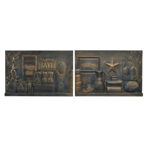 Fali dekoráció, fa, 60x4x40, csendélet, 2féle