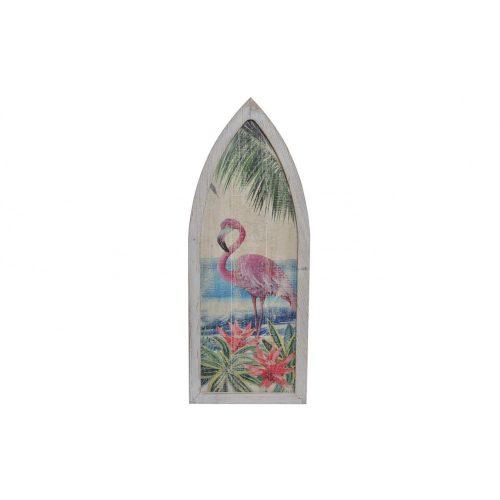 Fali dekoráció, fa, 40x2,5x101 , flamingó
