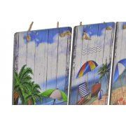 Fali dekoráció, fa, 20x1,6x30, strandos, 3féle