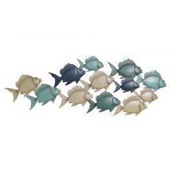 DP-179665 - Dekoráció falra fém 101,5x1,5x37,47 halak kék