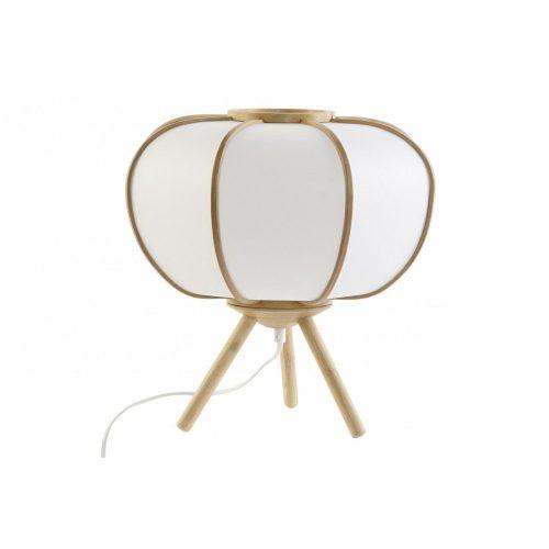Lámpa, asztali, bambusz, poliészter, 33x33x33, krém