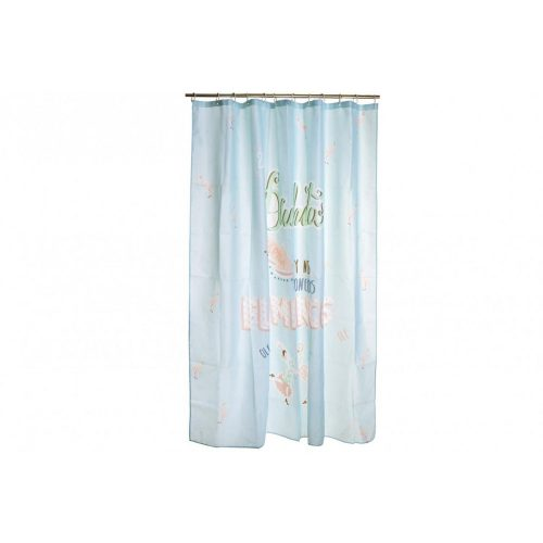 Függöny poliészter 180x200 feliratos flamingó kék