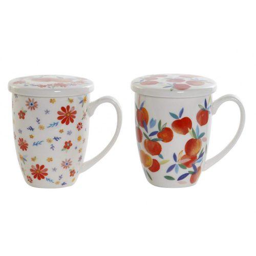 Bögre, teás, porcelán, 12x8,3x11, 380ml., barack