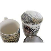 Bögre, teás, porcelán, 12x8,3x11, 380ml., világtérkép
