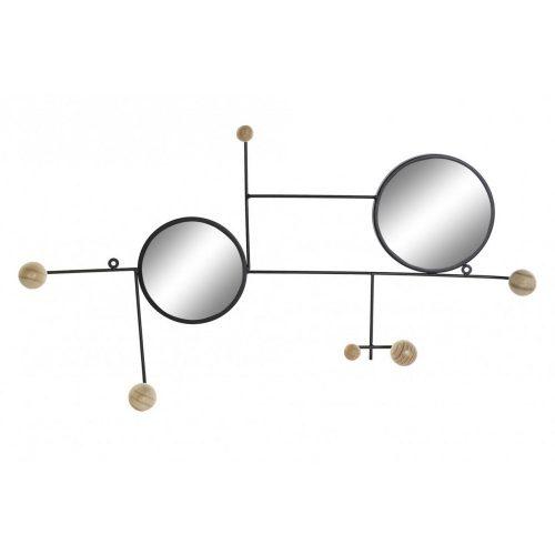 Akasztó, falra, fém, tükör, 73x32x7, espejos, fekete