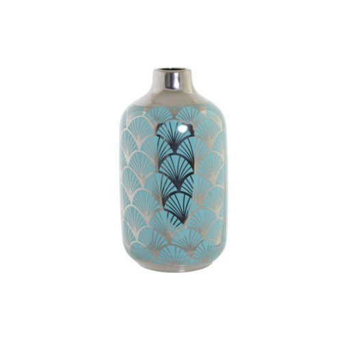 Váza porcelán 13x13x26 krómozott türkiz