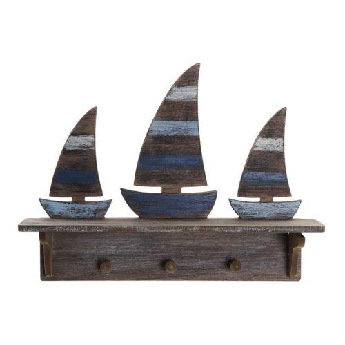 Akasztó falra fa mdf 43x8,5x32 hajók