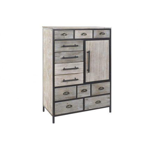 Fiókos szekrény fa fém 81x40x122 régies barna