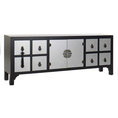 Tv-s szekrényfenyő mdf 130x24x51 keleti fekete
