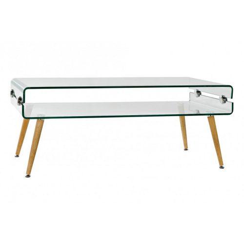 Kávés asztal üveg bükkfa 110x55x45 10mm.