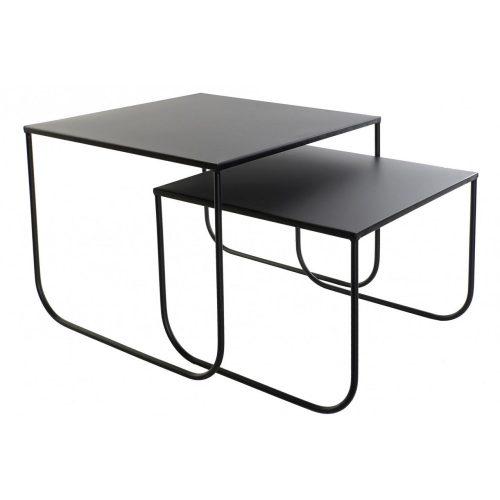 Asztal, telefonos, szett, 2db-os, fém, 45x45x35, fekete