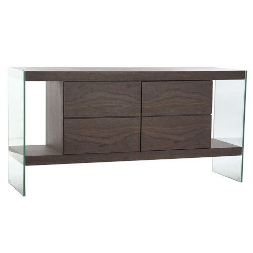 Kisbútor, üveg, mdf, 160x45x80, diófa, barna