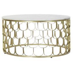 MB-179482 - Asztal kávé-s márvány vas 81x81x43 aranyozott