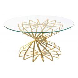 MB-182325 - Asztal kávé-s vas üveg 81x81x38 régies