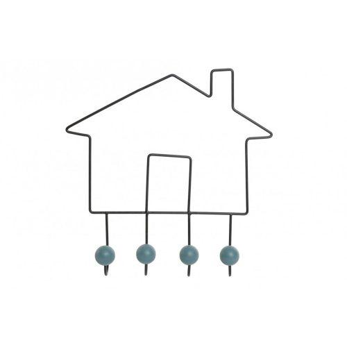 Akasztó falra fém fa 39,5x8x39,5 ház fekete